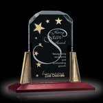 Renata Award on Walnut Base with Gold Posts 6in x 8in