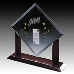 Carradine Award - Starfire Crystal on Piano Finish Rosewood Base 11in
