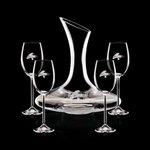 Madagascar Carafe and 4 Wine Glasses Engraved