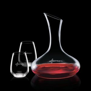 Cimarron Carafe and 2 Stemless Wine Glasses Engraved