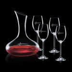 Cimarron Carafe and 4 Wine Glasses Engraved