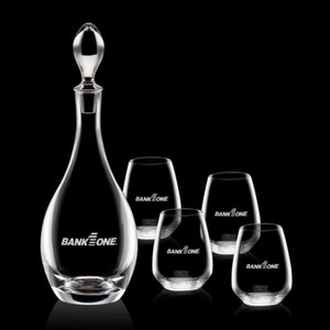 Malvern Decanter and 4 Stemless Wine Glasses Engraved