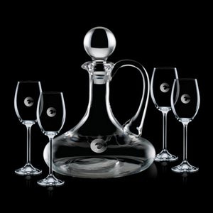 Horsham Decanter and 4 Wine Glasses Engraved