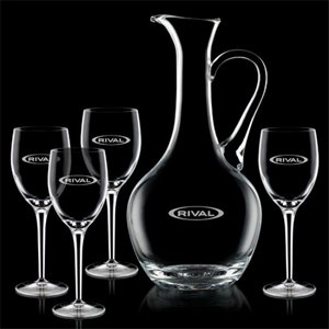 Deane Carafe and 4 Wine Glasses Engraved