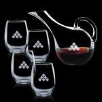 Medford Carafe and 4 Stemless Wine Glasses Engraved