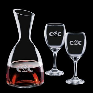 Rathburn Carafe and 2 Wine Glasses Engraved