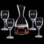 Rathburn Carafe and 4 Wine Glasses Engraved