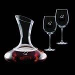 Edenvale Carafe and 2 Wine Glasses Engraved Glasses