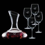 Edenvale Carafe and 4 Wine Glasses Engraved Glasses
