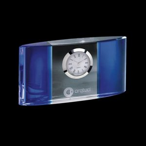 Atlanta Clock - Optical Crystal with Blue 5.5 in. Wide