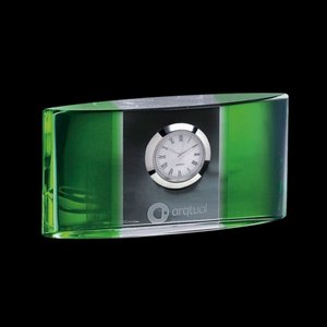 Atlanta Clock - Optical Crystal with Green 5.5 in. Wide