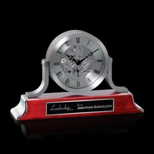 Larson Clock - Silver/Rosewood 8 .5 Wide