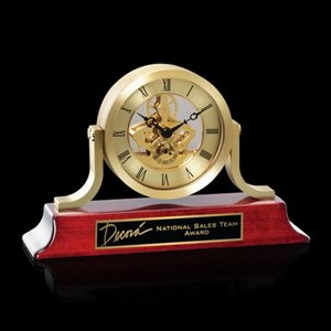 Larson Clock - Gold/Rosewood 8 .5 Wide