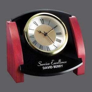 Powell Clock - Black/Rosewood 5.5 in. Wide