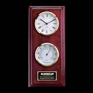 Simmons Clock/Thermo - Rosewood/Gold