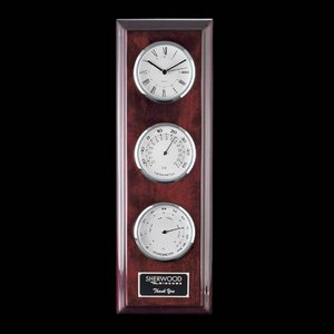 Simmons Clock Thermometer Hygrometer Chrome