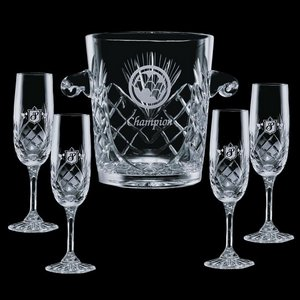 Cavanaugh Wine Glasses Engraved Cooler and 4 Flutes