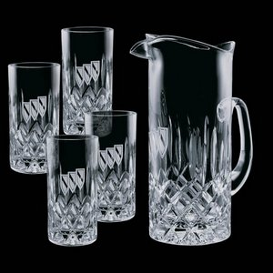 Denby Pitcher and 4 Hiball Glass Glasses
