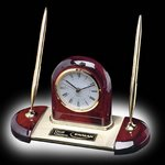 Alliston Clock/Pen Set - Rosewood/Gold