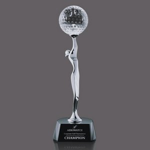 Oakdale Golf Award - Chrome/Black 12 in.