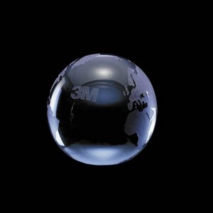 Globe Paperweight - Optical Crystal Award 3 in. Blue