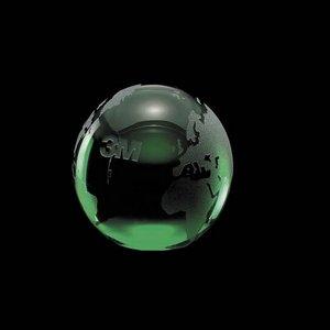 Globe Paperweight - Optical Crystal Award 3 in. Green