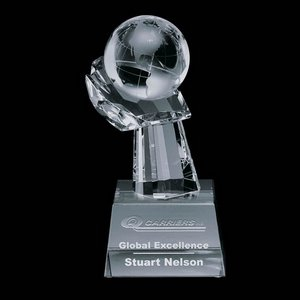 Globe on Hand Award - 2-3/8 in. Diam