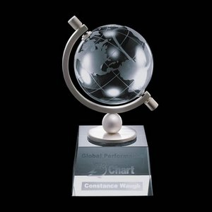 Ashbrook Globe Award - Optical Crystal  3-1/8 in. Diam