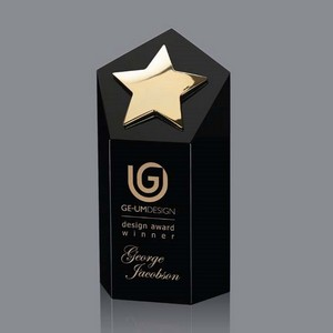 Dorchester Star Award - Black Optical Crystal with Gold Star 6 in