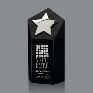 Dorchester Star Award - Black Optical Crystal with Silver  Star 6 in