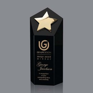 Dorchester Star Award - Black Optical Crystal with Gold Star 7 in
