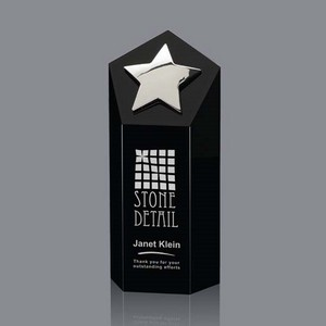 Dorchester Star Award - Black Optical Crystal with Silver  Star7 in