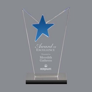 McKinley Star Award - Optical Crystal with Blue Star 7 in
