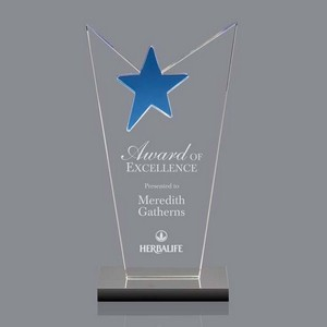 McKinley Star Award - Clear Optical Crystal with Blue Star 8?in.