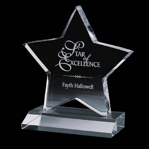 Chippendale Star Award - Optical Crystal Star on Optical Base 8 in.