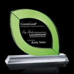 Donati Award - Optical Crystal with Green Accent 10in  Wide