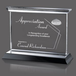 Tobermory Optical Crystal Award with Black Base 11 in. Wide
