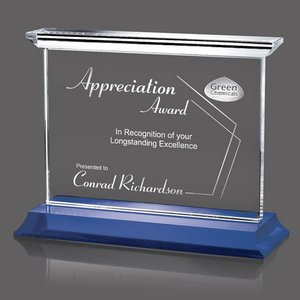 Tobermory Optical Crystal Award with Blue Base 11 in. Wide