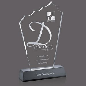 Monterey Award - Black & Clear Optical Crystal on Base 12 in.