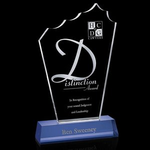 Monterey Award - Blue & Clear Optical Crystal on Base 12 in.