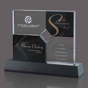 Killarney Award - Black & Clear Optical Crystal Base 8.25in.x10 3/4.