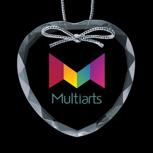 Optical Ornament w/VividPrint - Heart 3in.