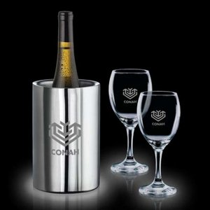 Jacobs Wine Cooler & 4 Carberry Wine Glasses