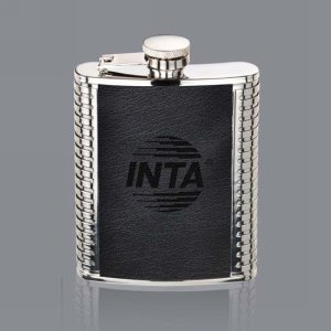 Trubner Hip Flask - 6oz Black Leather