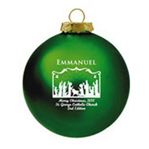 Customized Glass Christmas Ornaments -Green Ornament