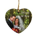 Rustic Wooden Heart Shape Ornament - Full Color Direct Imprint