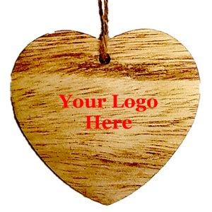 Rustic Wooden Heart Shape Ornament - Screen Print