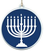 Sun Catcher in Clear Acrylic With Hanukkah Design Ornament