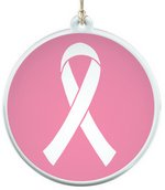 Sun Catcher in Clear Acrylic With Pink Ribbon Ornament
