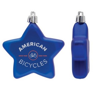 Flat Christmas Ornament - Star Shape Shatter Resistant - Blue